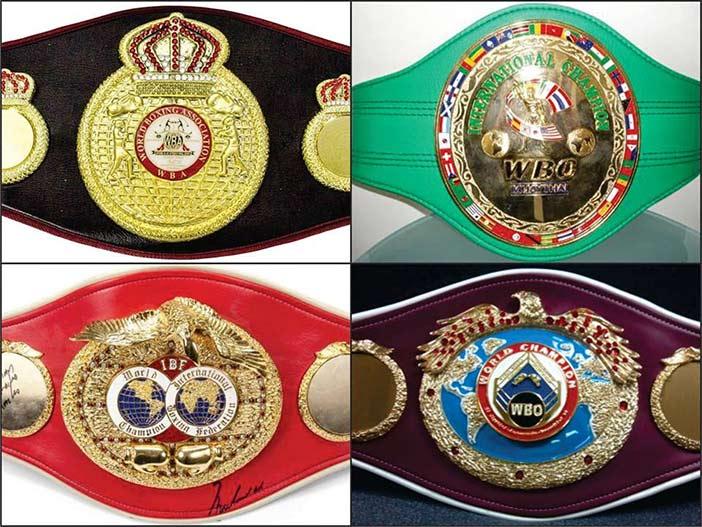 Cinturones mundiales de boxeo: AMB, CMB, FIB y OMB