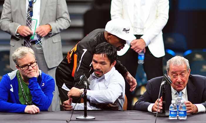Pacquiao y Mayweather en rueda de prensa