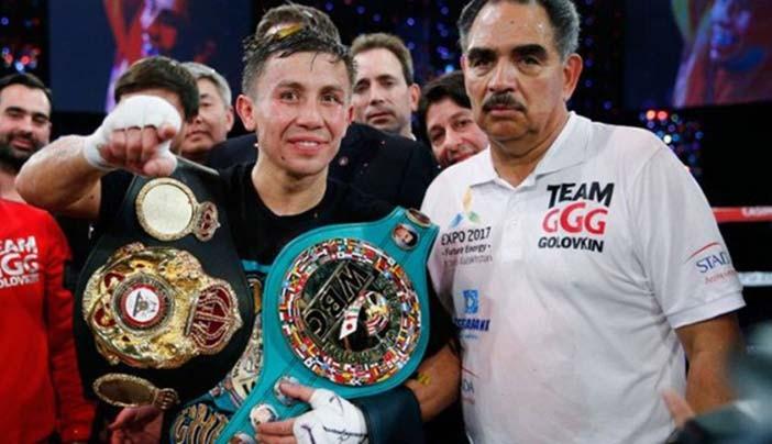 Abel Sánchez junto a Golovkin