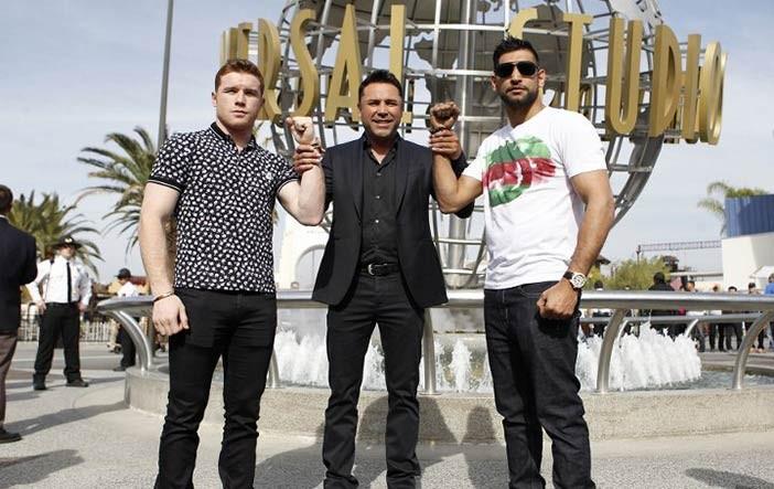 Canelo, De la Hoya y Khan