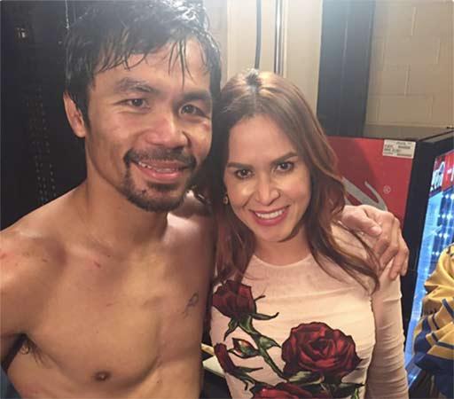 Pacquiao junto a su mujer tras la pelea.