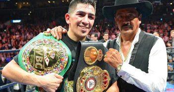 Leo Santa Cruz junto a su padre