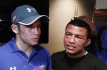 """Carlos Cuadras y """"Chocolatito"""" González después de la pelea"""
