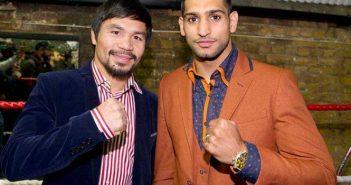 Manny Pacquiao junto a Amir Khan