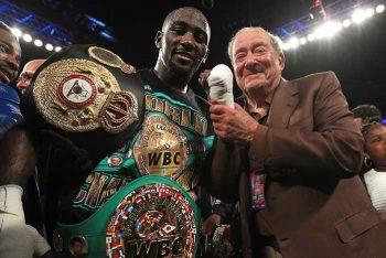 Crawford y Bob Arum (Foto: Mikey Williams / Top Rank)