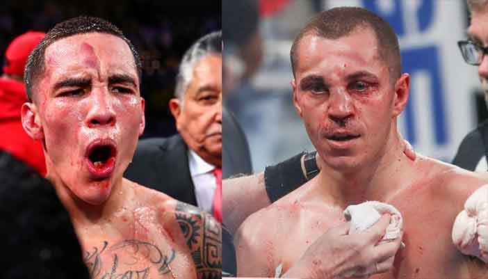 Óscar Valdez y Scott Quigg  tras la pelea.