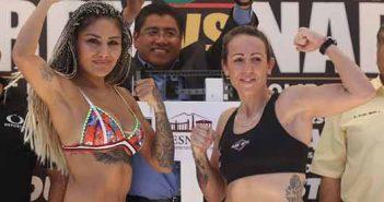 """Mariana """"Barby"""" Juárez vs Eva María Naranjo en el pesaje"""