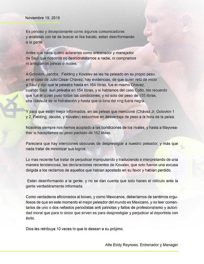 Comunicado Eddy Reynoso, entrenador de Canelo