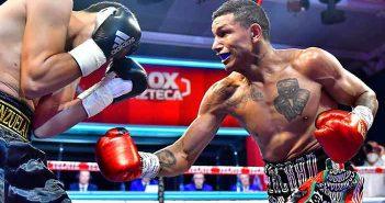 Miguel Berchelt golpea a Eleazar Valenzuela (Fotos: Zanfer Promotions)