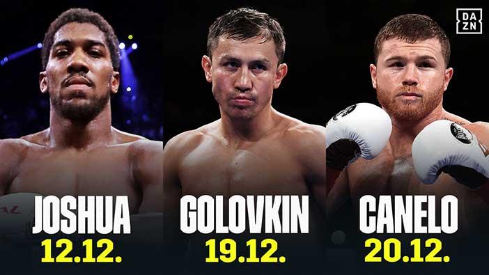 Joshua, Golovkin y Canelo en DAZN