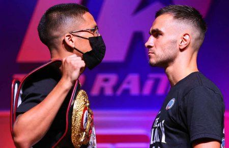 Joshua Franco y Andrew Moloney (Cortesía: Mikey Williams / Top Rank vía Getty Images)